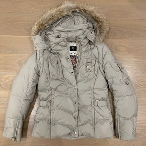 Bogner Down Ski Jacket + Detachable Fur Hood, Sz 8